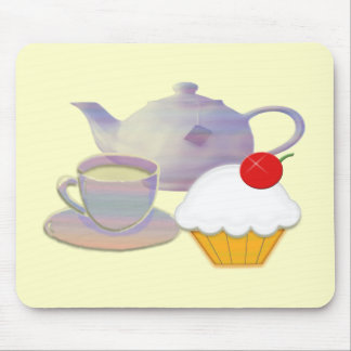 Teatime and cherry cupcake art gifts mouse pad