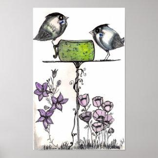 ¡Teatime del gorrión! Impresión de la bella arte Impresiones