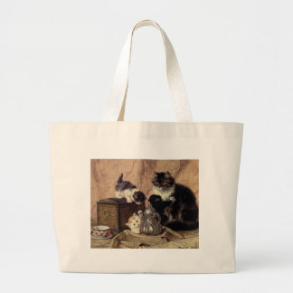 Teatime_For_Kittens Large Tote Bag
