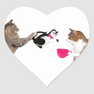 Teatime for kitty cats heart sticker