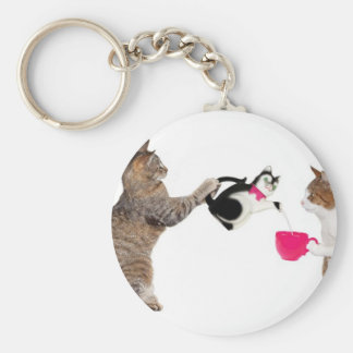 Teatime for kitty cats keychain