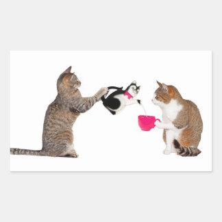 Teatime for kitty cats rectangular sticker