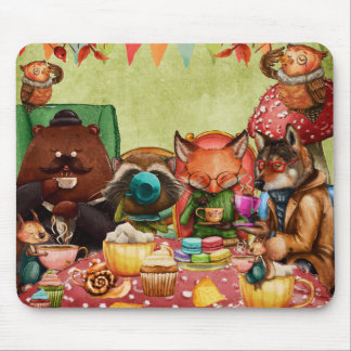 Teatime in Forest with Woodland Friends Mouse Pad