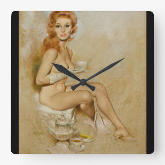Teatime Pin Up Art Square Wall Clock