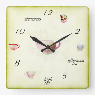 Teatime Square Wall Clock