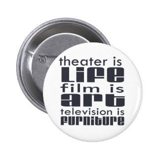 Teatro contra la película contra la TV Pins