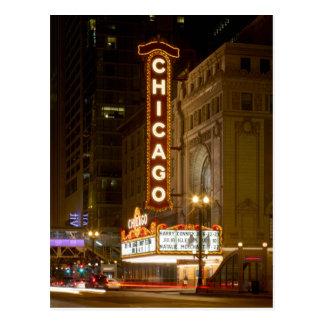 Teatro de Chicago, postal del viaje de Chicago Ill