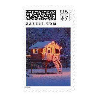 Teatro de Childs con nieve y luces de navidad Sello Postal