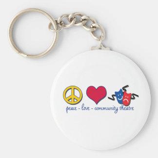 Teatro de la comunidad del amor de la paz llavero redondo tipo pin