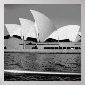 Teatro de la ópera de Sydney en blanco y negro Impresiones