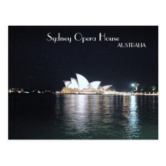 Teatro de la ópera de Sydney en la noche Postal