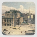 Teatro de la ópera del estado de Viena, c.1869 Pegatinas Cuadradas