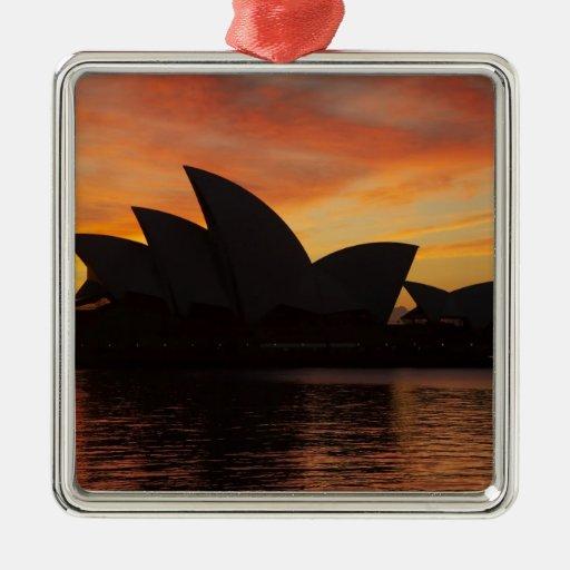 Teatro de la ópera en el amanecer, Sydney, nuevo Adorno Navideño Cuadrado De Metal