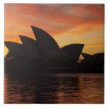 Teatro de la ópera en el amanecer, Sydney, nuevo s Azulejo Cuadrado Grande