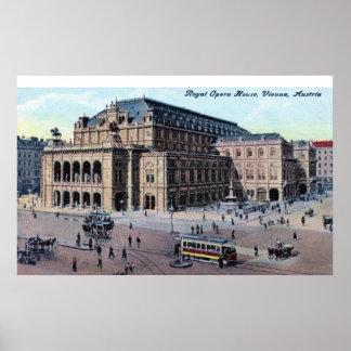 Teatro de la ópera real vintage de Viena Austria Poster