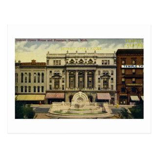 Teatro de la ópera y fuente viejos, Detroit, MI de Postal