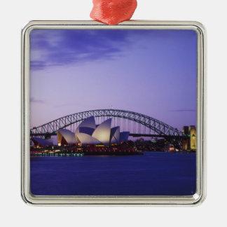 Teatro de la ópera y puerto, nuevo sur 2 de Sydney Adorno Navideño Cuadrado De Metal