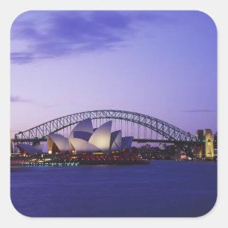 Teatro de la ópera y puerto, nuevo sur 2 de Sydney Pegatina Cuadrada