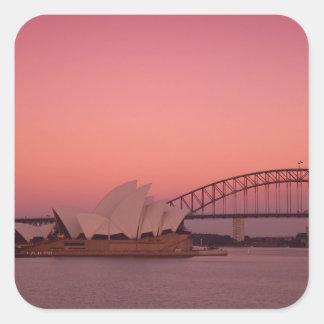 Teatro de la ópera y puerto, nuevo sur de Sydney Pegatina Cuadrada