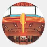 Teatro de la torre, Sacramento, California Pegatina Redonda