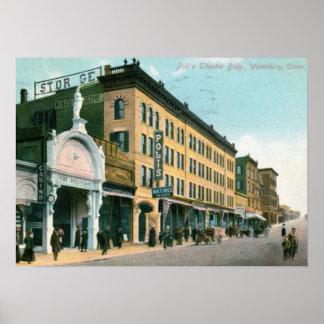 Teatro de Poli, Waterbury, vintage 1910 del CT Impresiones