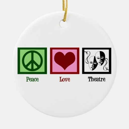 Teatro del amor de la paz adorno navideño redondo de cerámica