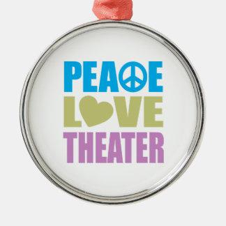 Teatro del amor de la paz adorno navideño redondo de metal
