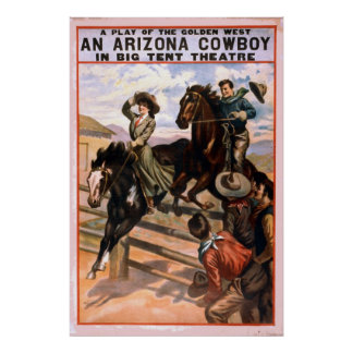 Teatro del oeste de oro del vaquero póster