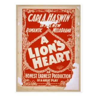 Teatro del vintage del corazón de un león tarjetas postales