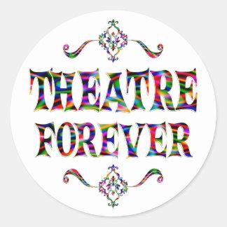 Teatro para siempre pegatina redonda