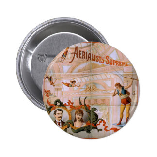 Teatro supremo del vintage de los Aerialists Pin Redondo 5 Cm