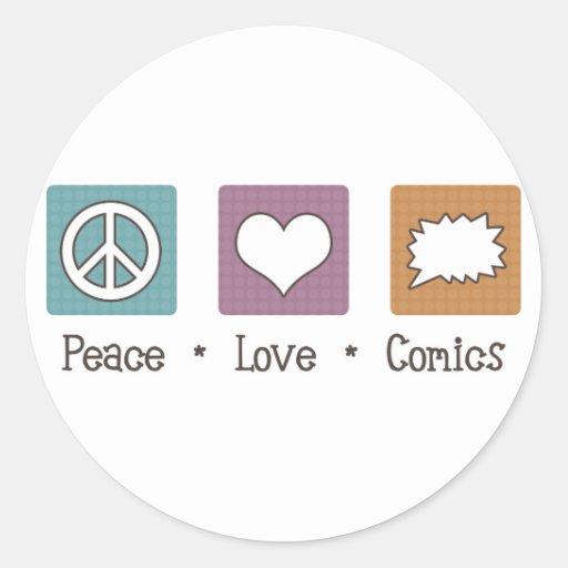 Tebeos del amor de la paz etiqueta redonda