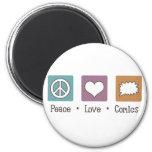 Tebeos del amor de la paz imán para frigorifico