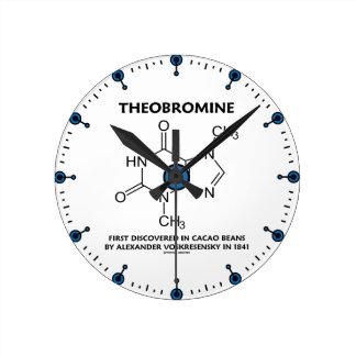 Tebromina primero descubierta en las habas 1841 reloj redondo mediano