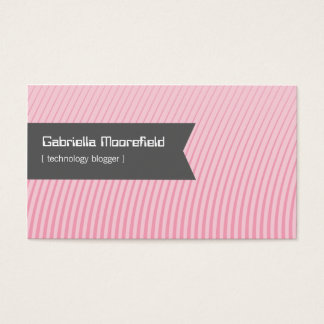 Tech Blogger Pink Contact Business Cards