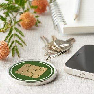 Tech Faux Gold SIM Card Mega Format Graphic Keychain
