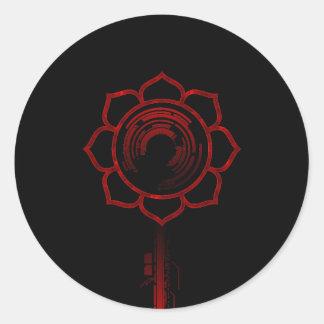 Tech flower classic round sticker