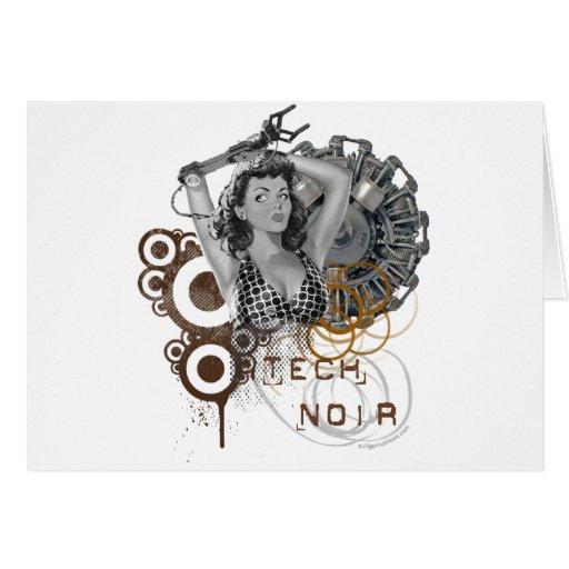 Tech noir pulp steampunk dame card