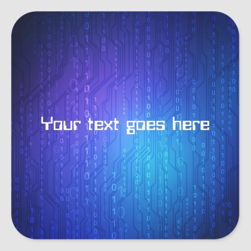 tech style sticker with space for text