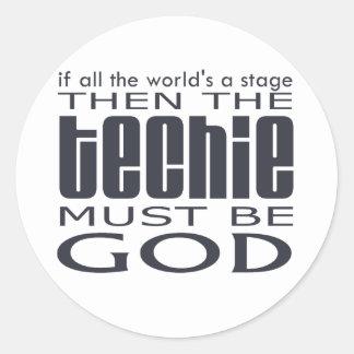 Techie God Round Sticker