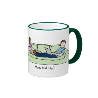 Techie Mom & Dad- personalized cartoon mug