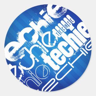 Techie; Royal Blue Stripes Round Stickers