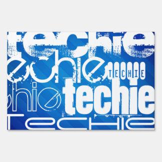 Techie; Royal Blue Stripes Lawn Sign