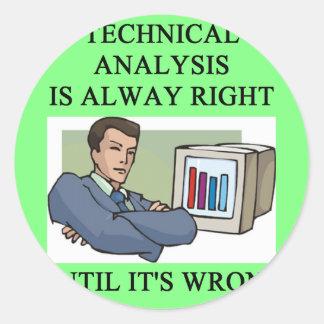 technical analysis joke classic round sticker