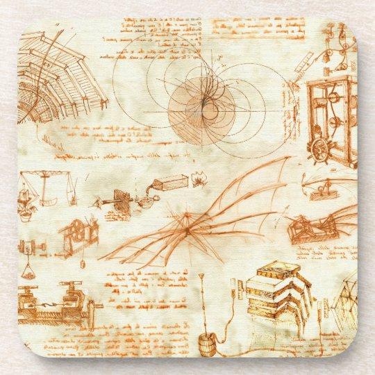 Technical drawing & sketches by Leonardo Da Vinci Drink Coaster