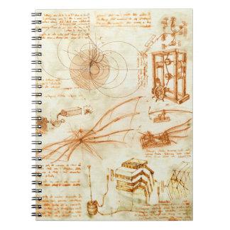 Technical drawing & sketches by Leonardo Da Vinci Spiral Notebook