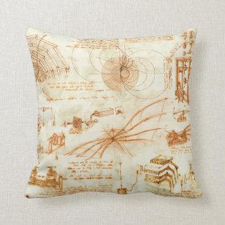 Technical drawing & sketches by Leonardo Da Vinci Throw Pillow