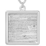 Technical drawings square pendant necklace