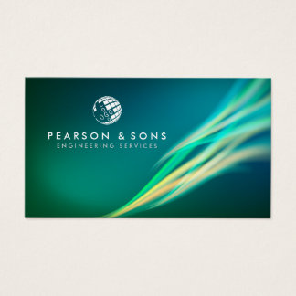 Technical Engineering Abstract Green Light Flow Business Card