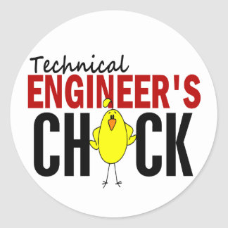 Technical Engineer's Chick Classic Round Sticker